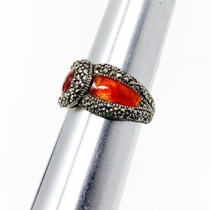 Inlaid Carnelian Sterling Silver Overlap Ring